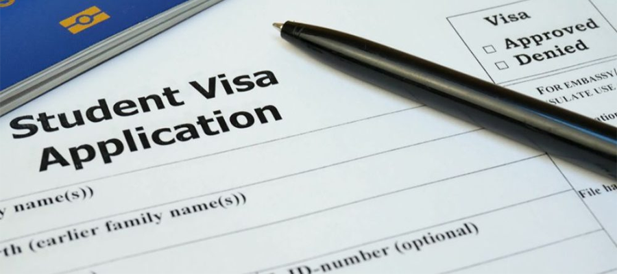 Image of student visa application